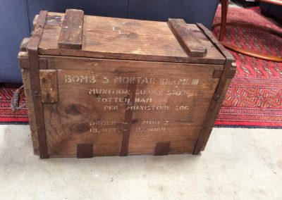 Bombs and Mortar wooden storage container