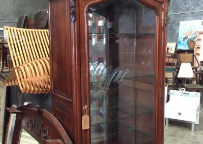 Glass and Dark Wood Carved 4 Shelved Cabinet